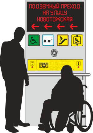 тактильно-звуковая мнемосхема для подземного (надземного) перехода, тактильная схема, говорящая схема для слепых