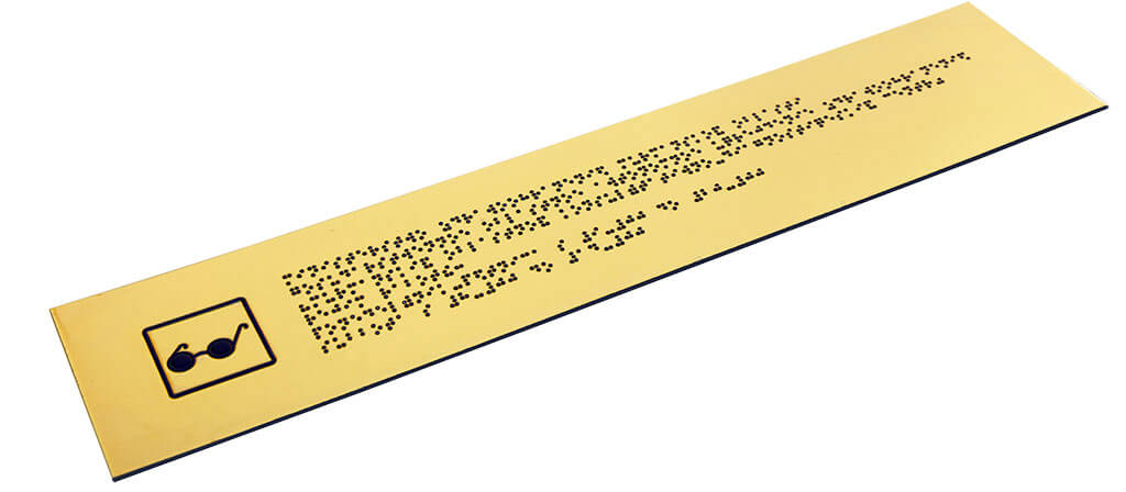 Стандартная табличка азбукой брайля золото
