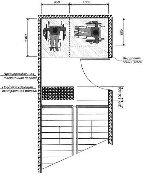 пандус откидной для инвалидов на лестничной клетке